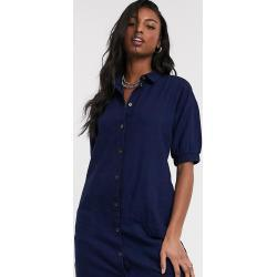 Noisy May Tall denim shirt dress with puff sleeves in indigo wash-Blue