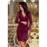 numoco Dámské krajkové šaty v bordó barvě s dlouhými rukávy a výstřihem model 6394168 S