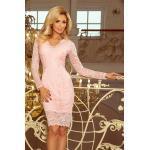 numoco Dámské krajkové šaty v pastelově růžové barvě s dlouhými rukávy a výstřihem model 5917737 S