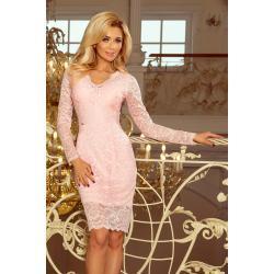 Dámské Šaty Numoco v pastelově růžové barvě v elegantním stylu ve velikosti XXL s dlouhým rukávem