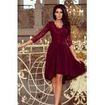 numoco Dámské šaty v bordó barvě s delší zadní částí a s krajkovým výstřihem model 6412389 XXXL