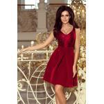 Dámské Krajkové šaty Numoco v bordeaux červené v elegantním stylu ve velikosti XL