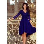 numoco Dámské šaty v chrpové barvě s delším zadním dílem a krajkovým výstřihem model 6998337 XXXL