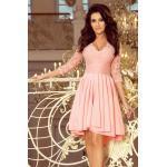 numoco Dámské šaty v pastelově růžové barvě s delším zadním dílem a s krajkovým výstřihem model 7248157 XXXL
