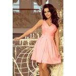 numoco Dámské šaty v pastelově růžové barvě s krajkovým výstřihem a záhyby model 7393825 XL