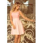 numoco Dámské šaty v pastelově růžové barvě s kulatým výstřihem a krajkou model 7297529 XL