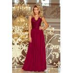 numoco Dlouhé dámské šaty v bordó barvě bez rukávů, s krajkovým výstřihem model 6710856 S