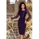 numoco Elegantní dámské tmavě modré tužkové šaty s krajkou model 6353683 S
