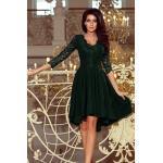 numoco Tmavě zelené dámské šaty s delším zadním dílem a krajkovým výstřihem model 6839184 L