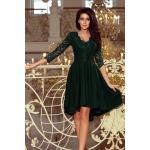 numoco Tmavě zelené dámské šaty s delším zadním dílem a krajkovým výstřihem model 6839184 XL