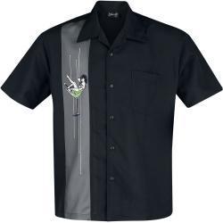 Pánské Košile v černé barvě ve streetwear stylu s krátkým rukávem