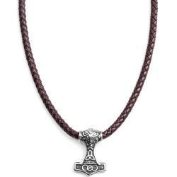 Oboustranný keltský hnědý kožený náhrdelník