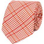 Oranžovo-bílá károvaná kravata