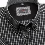Pánská košile WR Slim Fit s krátkým rukávem v černé barvě s bílou kostkou (výška 176-182) 4943