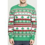 Pánská mikina // Pánský svetr // Urban Classics Snowflake Christmas Tree Sweater treegreen/white/firered - L