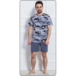 Pánské pyžamo šortky Army nadměr hnědá 2XL