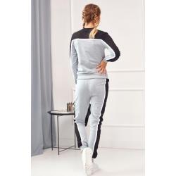 Poutavá dámská tepláková souprava s dlouhými kalhotami, šedá: 2XL