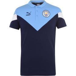 Pánská  Trička Puma v námořnicky modré barvě s krátkým rukávem s vysokým krkem s motivem Manchester City