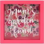 Růžová dřevěná maminčina pokladnička s nápisem Mums Garden Fund
