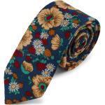 Retro modrá květinová kravata