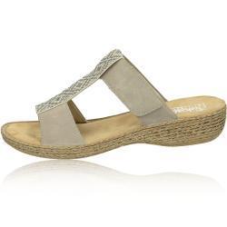 Dámské Pantofle Rieker v béžové barvě v elegantním stylu s kamínky na léto