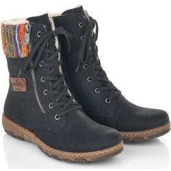 Dámské Kotníkové boty Rieker v černé barvě s výškou podpatku do 3 cm na zimu