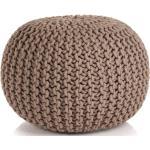 Ručně pletený bavlněný taburet - hnědý | 50x35 cm