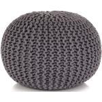 Ručně pletený bavlněný taburet - šedý | 50x35 cm