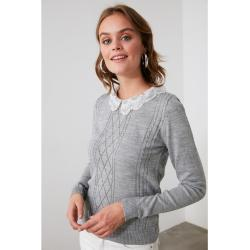 Trendyol Grey Lace Detailed Knitwear Blouse