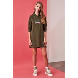 Trendyol Khaki Embroidered Hooded Knitted Sweat Dress