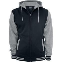 Urban Classics - Dvoubarevná mikina na zip - Mikina s kapucí na zip - cerná šedá