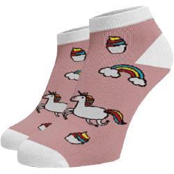 Veselé ponožky Jednorožci kotníkové Světlé růžová Bavlna 35-38