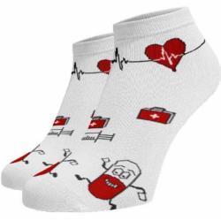 Veselé ponožky Nemocnice kotníkové Bílá 35-38