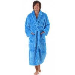 Vestis JACK EXTRA pánský hřejivý župan se šálovým límcem XL dlouhý župan se šálovým límcem středně modrá 5353