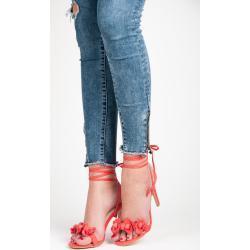 VICES Vázané červené sandály s kytičkami 37