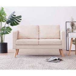 vidaXL 2místná sedačka textilní krémová