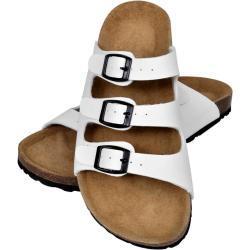 vidaXL Dámské bio korkové sandály se 3 přezkami bílé velikost 37