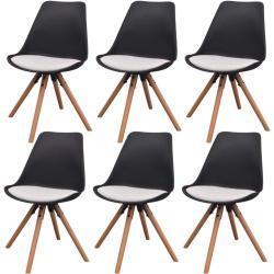vidaXL Jídelní židle 6 ks černé a bílé umělá kůže