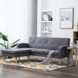 vidaXL Rohová sedačka s textilním čalouněním 186x136x79 cm světle šedá