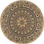 vidaXL Ručně vyrobený koberec z juty s tmavě modrým potiskem 120 cm