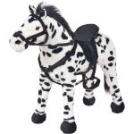 vidaXL Stojící plyšová hračka, kůň, černobílý, XXL