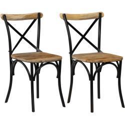vidaXL Židle křížové opěradlo 2 ks černé masivní mangovníkové dřevo