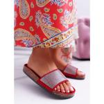 Women's Slides With Zircons Red Do It