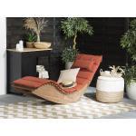 Zahradní lehátko z akátového dřeva s polštářem v cíhlové barvě BRESCIA