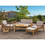 Zahradní nábytek Beliani v moderním stylu z akácie s loketní opěrkou pro 4 osoby ve slevě