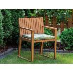 Zahradní židle ze světle hnědého dřeva s polštářem s listovým vzorem SASSARI