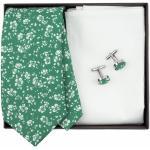Zelená kravatová sada s kytičkami