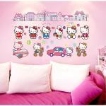 Živá Zeď Samolepka Hello Kitty s domečky