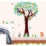 Živá Zeď Samolepka Strom s opičkami a zvířátky